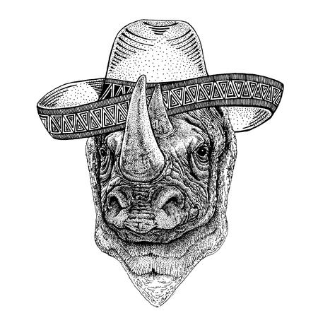 Rhinoceros, rhino wearing traditional mexican hat. Classic headdress, fiesta, party.