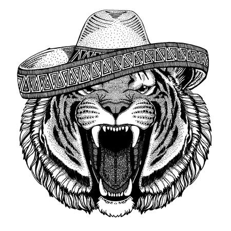 Tigre con sombrero tradicional mexicano. Tocado clásico, fiesta, fiesta. Ilustración de vector