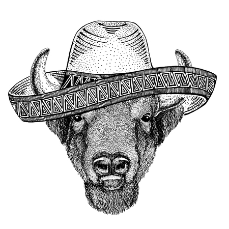 Buffalo, bison,ox, bull wearing traditional mexican hat. Classic headdress, fiesta, party.