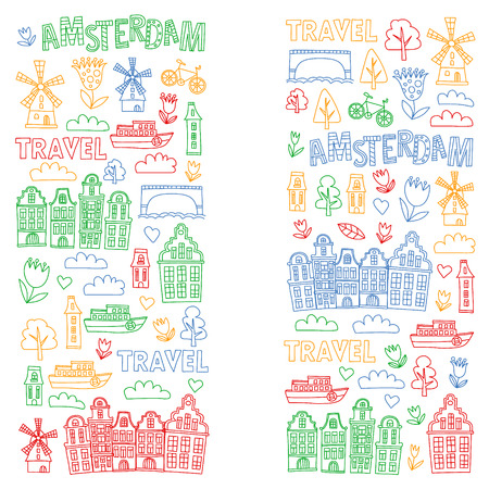 Vector pattern with Holland, Netherlands, Amsterdam icons. Doodle style 版權商用圖片 - 123896935