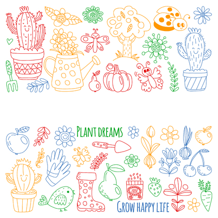Vector pattern for backgrounds. Cute gardening. Icons for banners