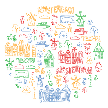 Vector pattern with Holland, Netherlands, Amsterdam icons. Doodle style 版權商用圖片 - 123896962