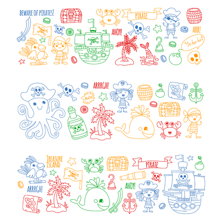 Vector pattern with pirate icons. Adventure, birthday party. Ilustrace