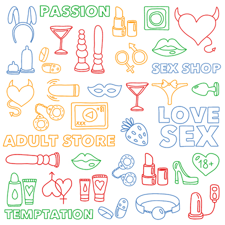 Vector set with sex shop icons. Erotic fetish games background. Standard-Bild - 120709878