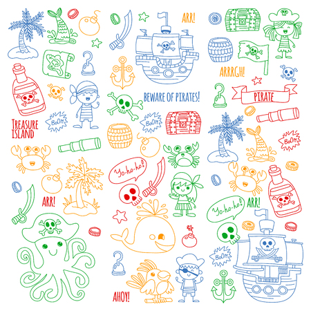 Vector pattern with pirate icons. Adventure, birthday party. Ilustração