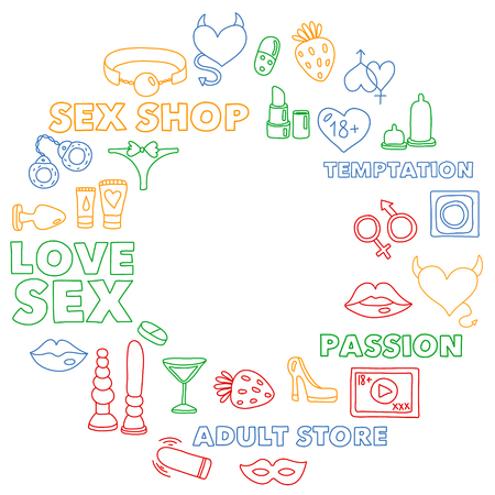 Vector set with sex shop icons. Erotic fetish games background. Banco de Imagens - 120709885
