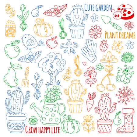 Vector pattern for backgrounds. Cute gardening. Icons for banners.