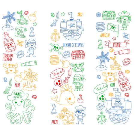 Vector pattern with pirate icons. Adventure, birthday party Ilustração