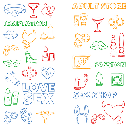 Vector set with sex shop icons. Erotic fetish games background. Ilustracja