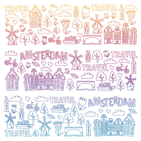 Vector pattern with Holland, Netherlands, Amsterdam icons. Doodle style 版權商用圖片 - 123844186