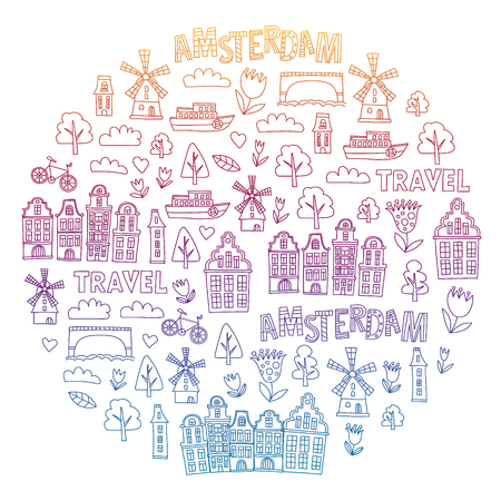 Vector pattern with Holland, Netherlands, Amsterdam icons. Doodle style Ilustracja