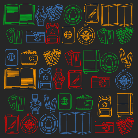 Vector pattern with travel icons. Get ready for adventures and travel. Hot air balloon, suitcase, airplane. Great vacation, holidays.