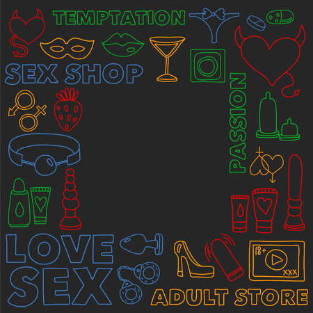 Vector set with sex shop icons. Erotic fetish games background. Stock Illustratie