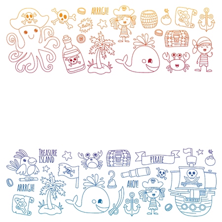 Vector pattern with pirate icons. Adventure, birthday party Ilustrace