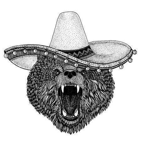 Bear wearing traditional mexican hat. Classic headdress, fiesta, party. Ilustración de vector