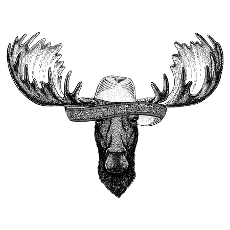 wearing traditional mexican hat. Classic headdress, fiesta, party. Ilustración de vector