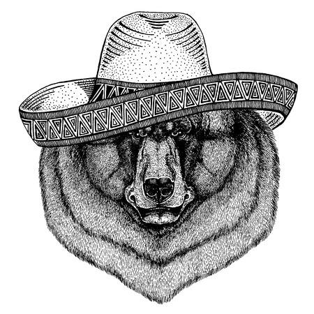 Oso negro con sombrero tradicional mexicano. Tocado clásico, fiesta, fiesta.