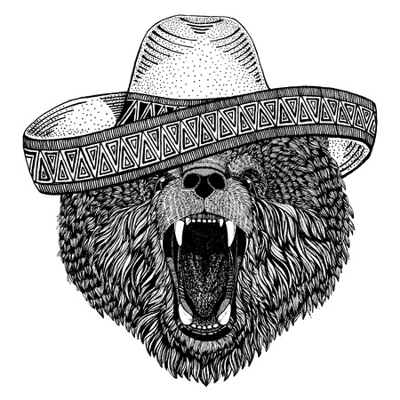Bear wearing traditional mexican hat. Classic headdress, fiesta, party. Vectores