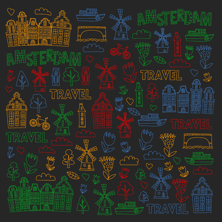 Vector pattern with Holland, Netherlands, Amsterdam icons. Doodle style 版權商用圖片 - 123249672
