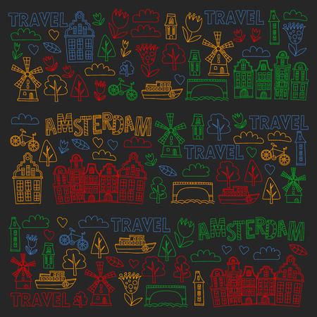 Patrón de vector con iconos de Holanda, Países Bajos, Amsterdam. Estilo Doodle
