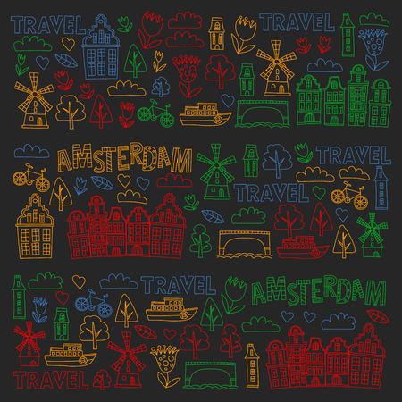 Vector pattern with Holland, Netherlands, Amsterdam icons. Doodle style Illustration