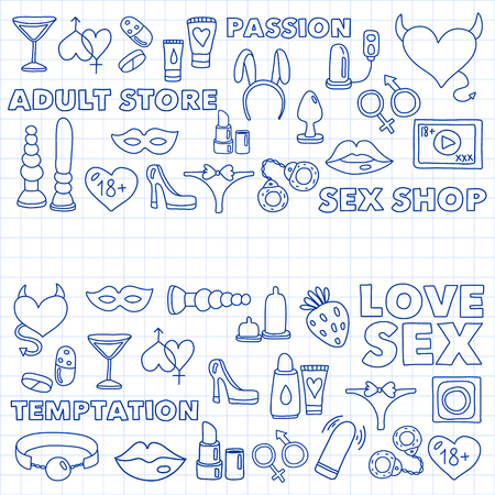 Vector set with sex shop icons. Erotic fetish games background 스톡 콘텐츠 - 122554304
