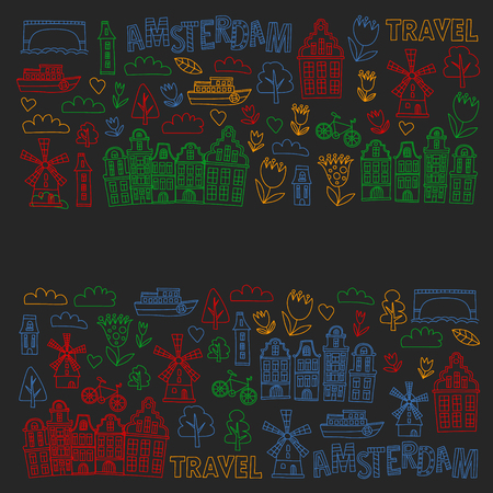 Vector pattern with Holland, Netherlands, Amsterdam icons. Doodle style 版權商用圖片 - 123249715