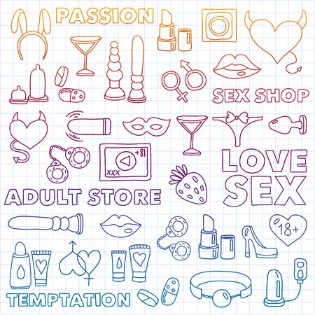Vecteur défini avec des icônes de la boutique. Fond de jeux érotiques