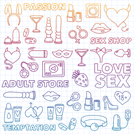 Vector set with shop icons. Erotic games background