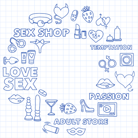 Vector set with shop icons. Erotic games background Vektorové ilustrace