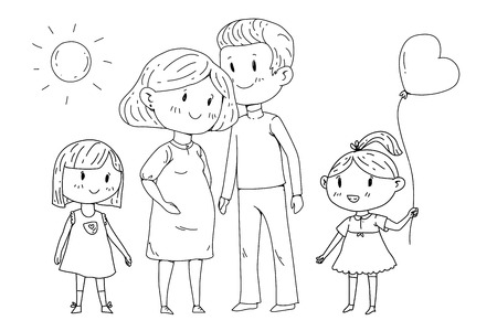 Cartoon family with pregnant woman and little children