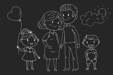 Cartoon family with pregnant woman and little children Vetores