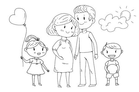 Familia de dibujos animados con mujer embarazada y niños pequeños