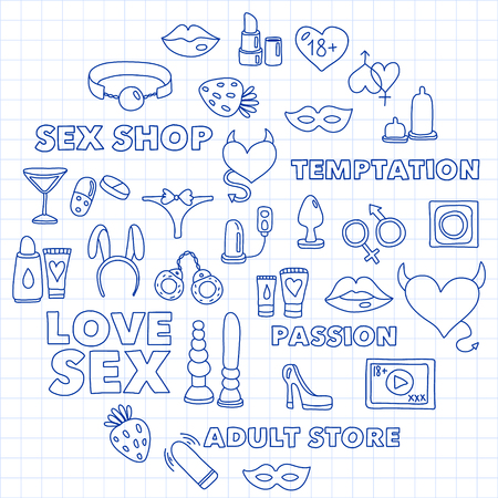 Vector set with sex shop icons. Erotic fetish games background 스톡 콘텐츠 - 122554322