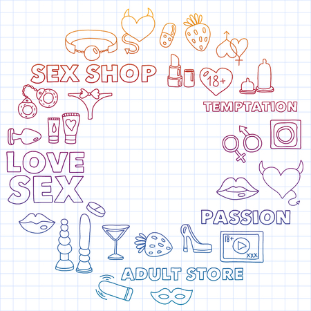 Vector set with sex shop icons. Erotic fetish games background