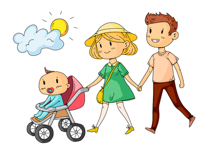 Young happy family walking in park with little children.