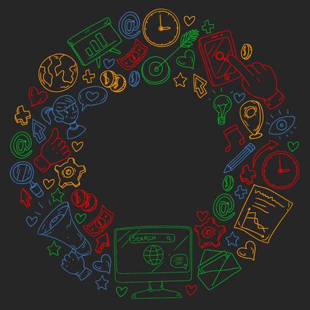 Digital marketing, social media communications management 向量圖像