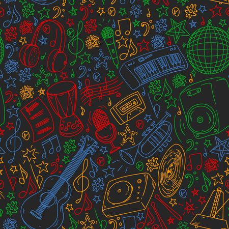 Musical pattern for posters, banners. Music festival, karaoke disco rock