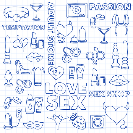Vector set with sex shop icons. Erotic fetish games background. 스톡 콘텐츠 - 122554482