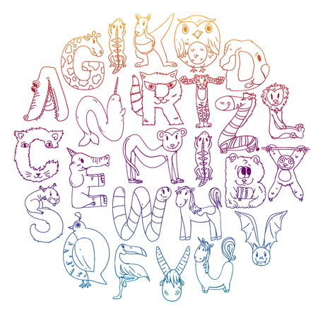 Animal alphabet. Letters from A to Z. Flamingo, giraffe, horse, alligator, bear cat dog elephant