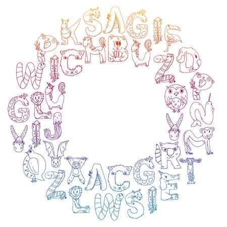 Animal alphabet. Letters from A to Z. Flamingo, giraffe, horse, alligator, bear cat dog elephant