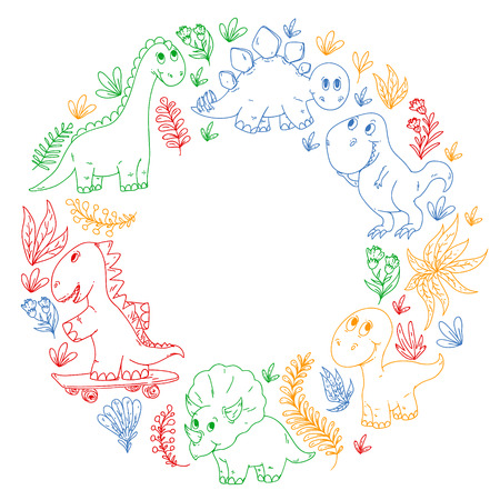 Pattern kids fabric, textile, nursery wallpaper. Vector illustration. Hand drawn dinosaurs, dino for little children Illustration