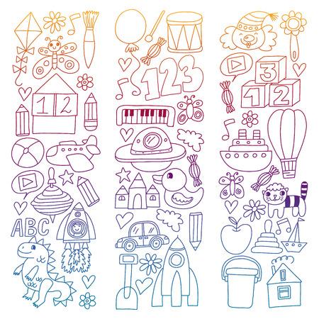 Vector pattern with children toys. Robot, rocket, horse dolls