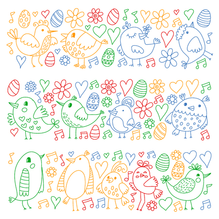 Collection of cute hand drawn bird. Doodle style icons.