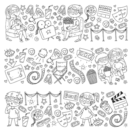 Vector pattern with cinema icons of movie theater, TV, popcorn, video clip Banque d'images - 123028751