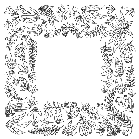 Hand vector drawn floral, leaves elements. Pattern for logo, greeting card, wedding design.