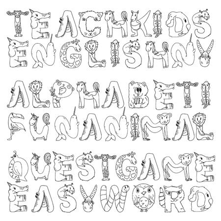 Animal alphabet. Letters from A to Z. Flamingo, giraffe, horse, alligator, bear cat dog elephant Векторная Иллюстрация