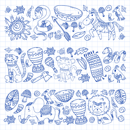 African pattern with tribal elements and animals.