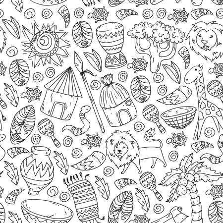 Vector pattern kids fabric, textile, nursery wallpaper. African pattern with tribal elements and animals for little children 일러스트