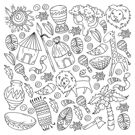 Vector pattern kids fabric, textile, nursery wallpaper. African pattern with tribal elements and animals for little children Иллюстрация